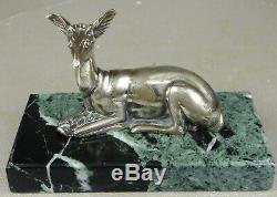 11920/1930 G. Lavrov Statue Sculpture Animaliere Art Deco Bronze Argente Biche