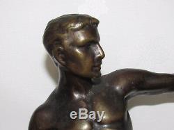 11d13 Old Statue Sculpture Bronze Patine Nude Male Athlete Art Deco 1930