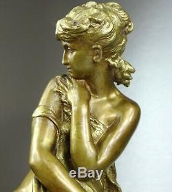 1860/1900 Math. Moreau Statue Sculpture Ep. Art Nouveau Dore Bronze Frileuse Naked