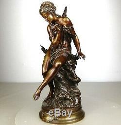 1860/1900 Matt Moreau Statue Sculpture Bronze Art Nouveau Ondine Naked Woman Naiad