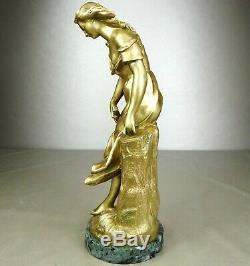 1880/1900 E. Ferrari Rare Statue Sculpture Bronze Dore Art Nouveau Woman Guitar