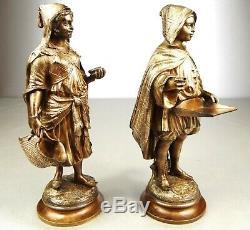 1880/1900 E Guillemin Statue Sculpture Two Orientalist Art Nouveau Dore Bronze