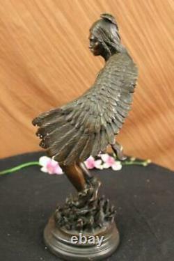 19 Grand Chair Male Angel Portant Girl Mythic Deco Bronze Sculpture Art