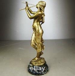 1900/1920 Ed Drouot Statue Sculpture Deco Art Nouveau Dore Bronze Muse Naked Woman