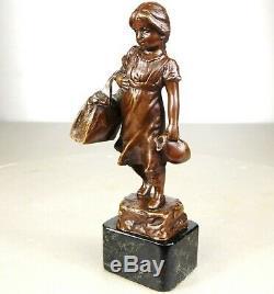 1900/1920 Jp Schmidt-felling Rare Statue Sculpture Epq Art Deco Bronze Girl