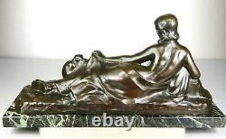 1900 A Foretay Rare Grd Statue Sculpture Art Nouveau/deco Bronze Woman Nude Monkey