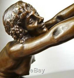 1910/1920 L Alliot Rare Statue Sculpture Art Deco Bronze Nymph Woman Nude Satyr