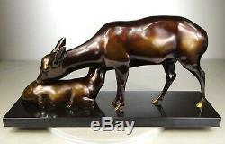 1920/1930 A Sinko Gr Rare Statue Sculpture Art Deco Bronze Animaliere Doe Fawn