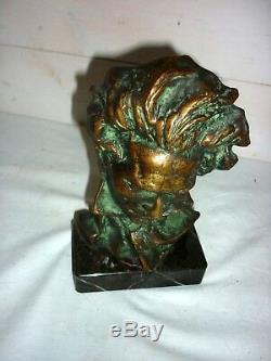 1920/1930 Bust Of Beethoven Signed Pierre Le Faguays Bronze Sculpture Art Deco