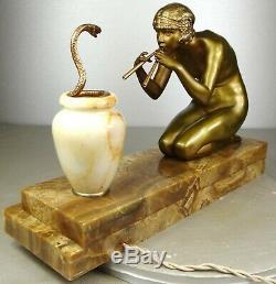 1920/1930 C Mirval Statue Sculpture Lamp Art Deco Bronze Dore Female Naked Snake