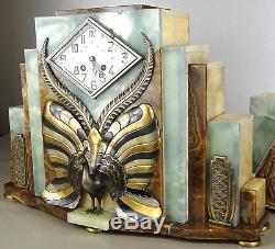 1920/1930 Fh Danvin Trim Pendulum Sculpture Art Deco Bronze Dore Silver Peacock