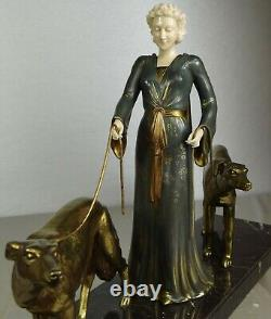 1920/1930 G. Gori Statue Sculpture Art Deco Chryselephantine Bronze Dore Barzois