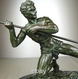 1920/1930 G Hervor Statue Sculpture Art Deco Nude Male Athlete Javelin Pat Bronze