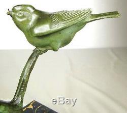 1920/1930 Gh Lawrence Statue Sculpture Animaliere Art Deco Bronze Birds Mesange