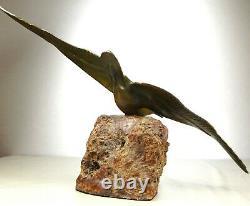 1920/1930 Gh. Lawrence Statue Sculpture Art Deco Bronze Animal Bird Seagull