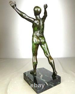 1920/1930 H Fugere Rar Statue Sculpture Art Deco Bronze Athlete Male Nude Sportsman