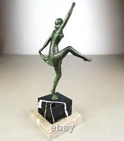 1920/1930 H. Molins Rare Mascot Auto Sculpture Bronze Statue Art Deco Dancer
