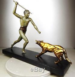 1920/1930 J. Brault Rare Sculpture Statue Bronze Art Deco Hunting Athlete Nude Wolf