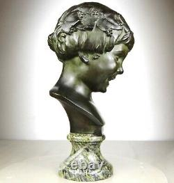 1920/1930 L. Alliot Grand Bust Statue Sculpture Art Deco Bronze Child Bacchus