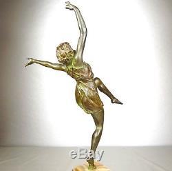 1920/1930 M Guiraud-rare River Statue Sculpture Art Deco Bronze Female Dancer