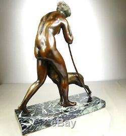 1920/1930 M. Guiraud-river Statue Sculpture Art Deco Bronze Diane Chasseressee