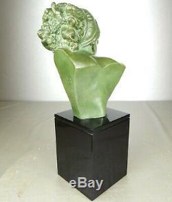 1920/1930 Marcel Bouraine Rare Statue Sculpture Bust Ep. Art Deco Bronze Woman