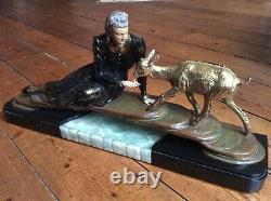 1920/1930 Menneville Grd Statue Sculpture Chryselephantine Art Deco Woman Chevre