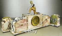 1920-1930 Pendulum Trim Statue Sculpture Art Deco Dancer Dore Bronze East