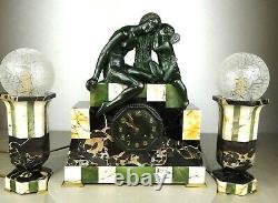 1920/1930 Suprb Pendule Topping Lamps Sculpture Art Deco Bronze Venus Cupid