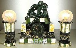 1920/1930 Suprb Trim Pendulum Lamps Sculpture Art Deco Bronze Venus Cupid
