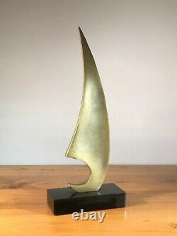 1970 Bronze Sailing Sculpture Modernist Shabby-chic Art-deco