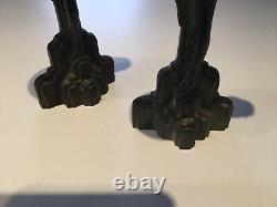 2 Sculptures Art Deco In Bronze Women Candle Holders Style Max Le Verrier Figuri