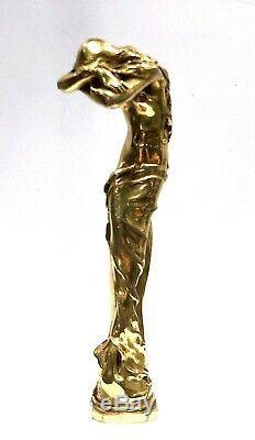 A. Clerget Female Grand Stamp Art Nouveau Gilt Bronze Foundry Signature + Stamp