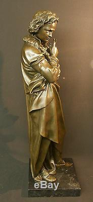 Aa 1930 Large Bronze Statue Of Beethoven Sculpture 21kg73cm Art Deco Music Tbe