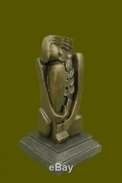 Abstract S. Dali Bronze Sculpture Marble Base Massif Modern Figrine