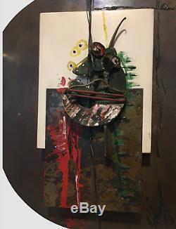 Alfredo Garzon 1940-2014 Sculpture Art Brut Bronze Steel And Oil