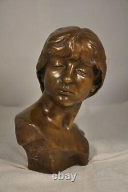Ancient Bronze Art Nouveau Signed By Antonin Injalbert Ancient Sculpture