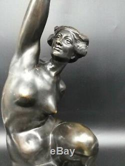 Ancient Bronze Sculpture Art Deco Flare Woman Naked A Puttemans Brussels