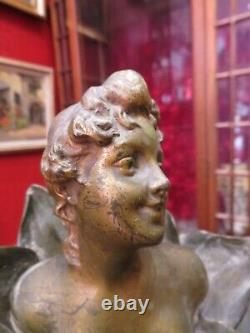 Ancient Bronze Statue Sculpture Epoch Art Nouveau Henri Dildo Bust Woman Flower