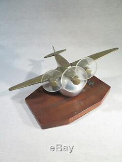 Ancient Plane Model Sculpture Bronze Art Deco Era