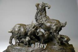 Animal Art, Group Of Goats, Bronze Sculpture Signed Milo, Free Shipping