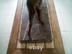 Animal Sculpture Art Deco Two Biches In Regular Patined Bronze Subject Christmas