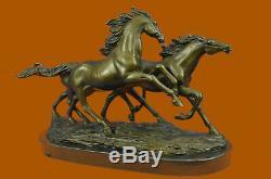 Arabian Thoroughbred Racing Horses Galloping Bronze Statue Marble Sculpture Art