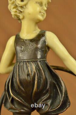Art Deco Baby School Girl Playing Bronze Sculpture With False Os Figure Sale