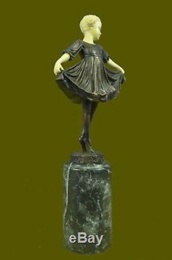 Art Deco Bronze Dancing Girl Signed Os Preiss Sculpture Figurine Statue Decor
