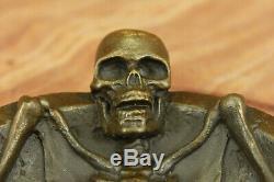 Art Deco Bronze Figurative Flesh Skull Skeleton Statue Sculpture Ashtray Deal