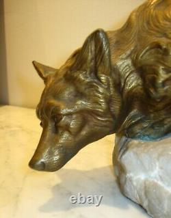 Art Deco Bronze Fox A L'affut Signe Bartelier Circa 1910-20 L 45 CM