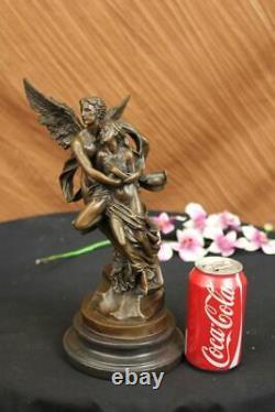 Art Deco Bronze Sculpture Marble Angel Psyche And Eros Statue Cupid Artwork