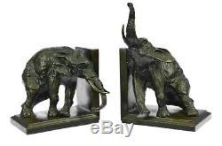 Art Deco Cast Iron Original Milo Two Elephant Wildlife Bronze Sculpture Bookends