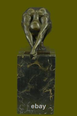 Art Deco Chair Male Bronze Diver Sculpture Marble Base Figure House Decoration